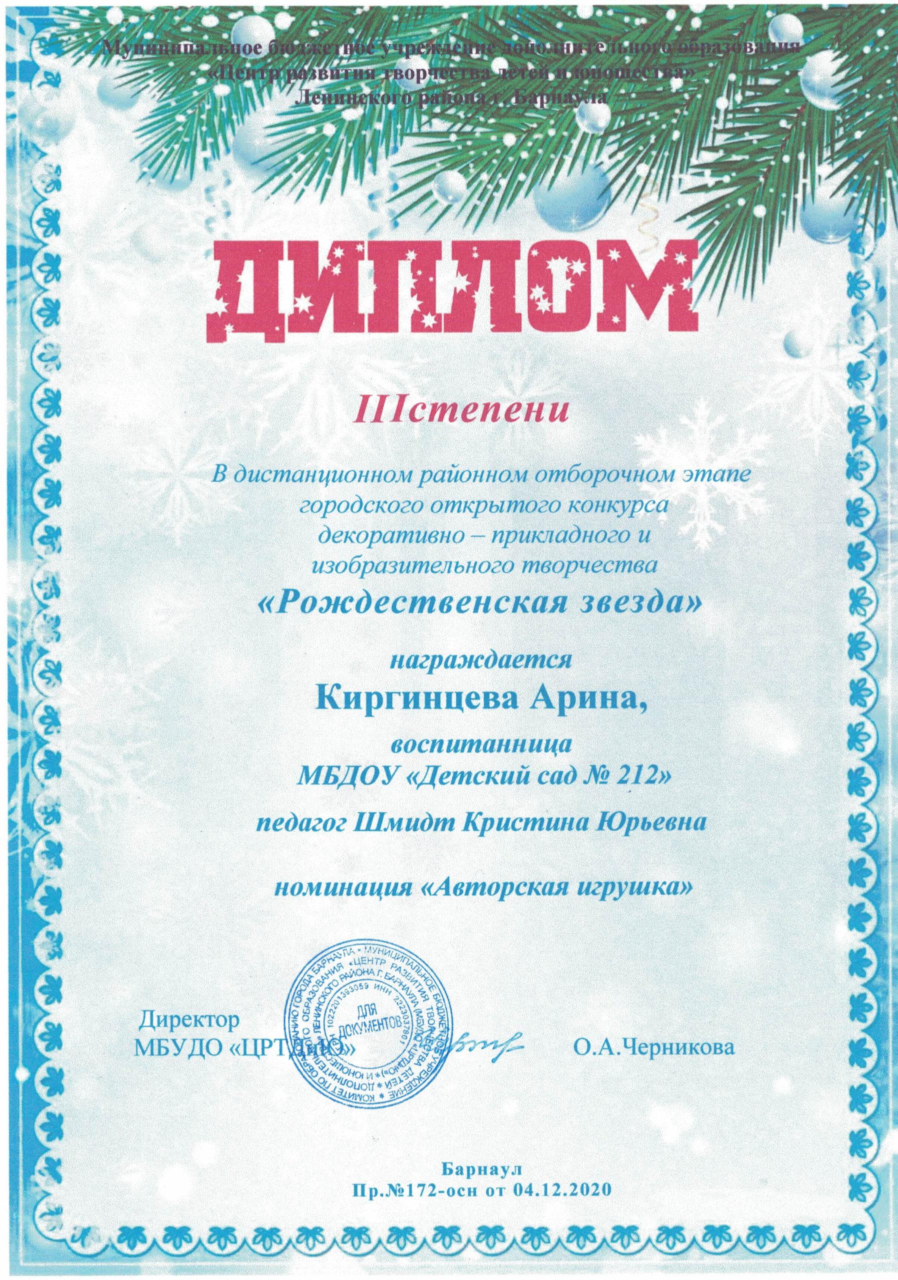 Диплом Рождественская звезда 114122020